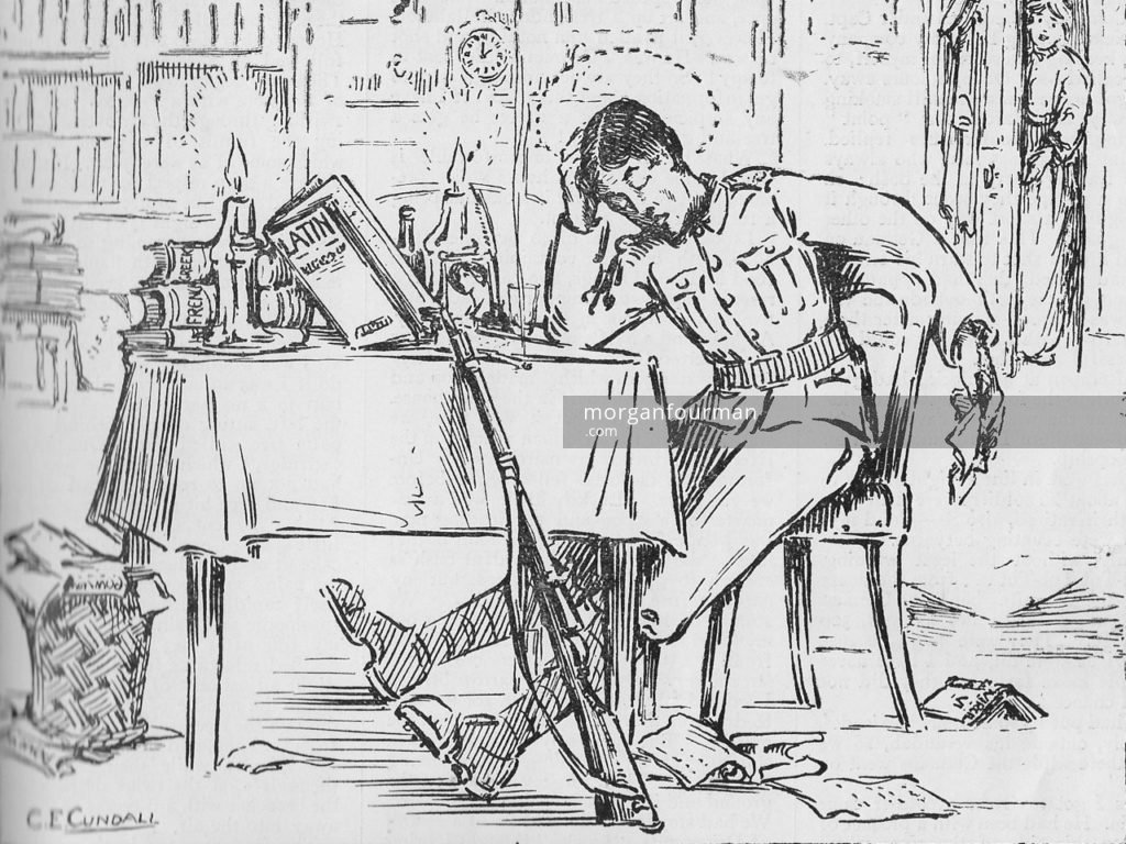 """""""How it's done. The Editor as our Artist sees him"""" by C.E. Cundall. The Pow-Wow, the Unofficial Journal of the U.P.S. Brigade, No. 10, 5 Feb 1915"""