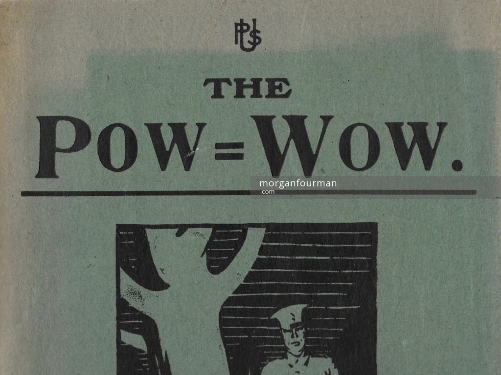 The volume cover (fragment) by H.C. Mumby. The Pow-Wow, the Unofficial Journal of the U.P.S. Brigade, 1915