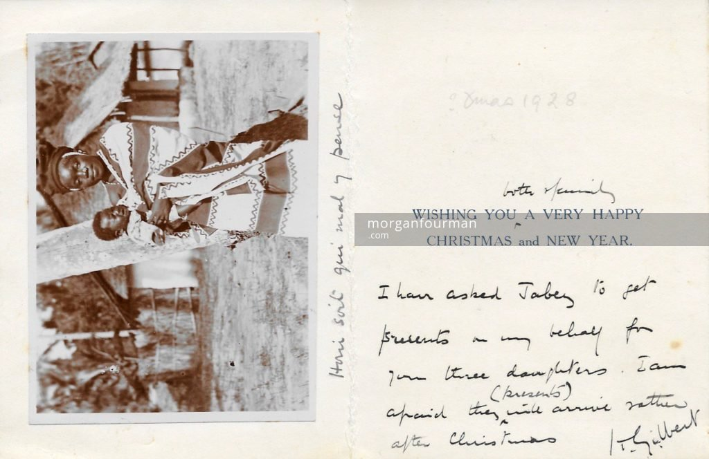 Trounsell Gilbert's Christmas Card, Zanzibar, East Africa, 1928