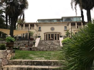 Garden front of villa and terrace, The Ashbee Hotel, Taormina, 2018