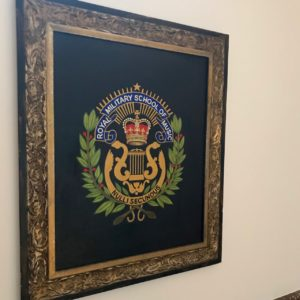 Emblem of The Royal Military School of Music, Staircase, The Ashbee Hotel, Taormina, 2018