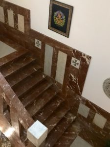 Marble staircase with motif in lava stone, The Ashbee Hotel, Taormina, 2018