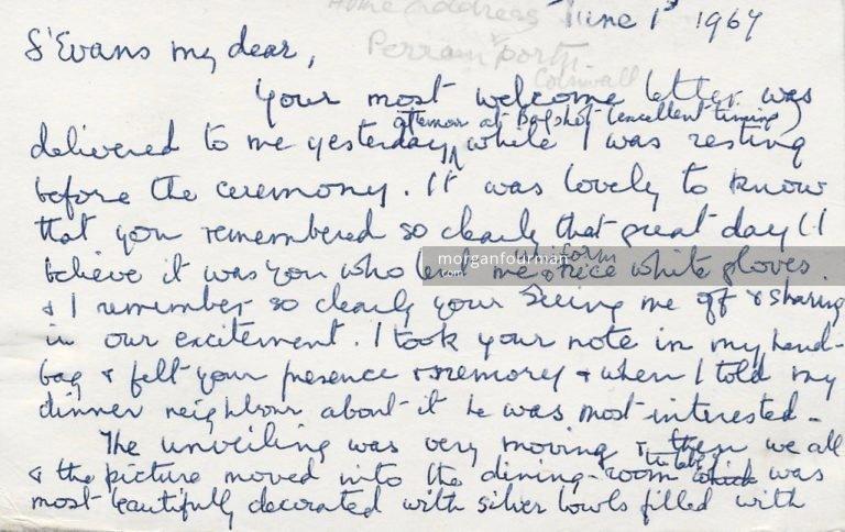 Elizabeth Hardy to Molly Evans postcard, 1 Jun 1967, p. 1