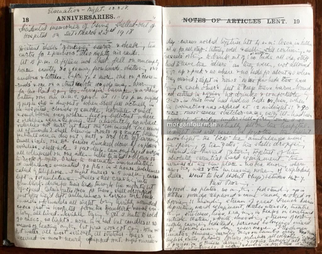 Evacuation: special entry for night 23 Mar and next morning, Molly Evans's Diary, 1918