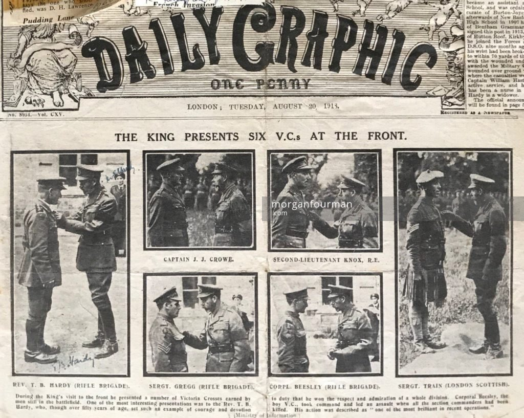 The King presents six Victoria Crosses at the front including to the Rev. T.B. Hardy (left), Daily Graphic, 20 Aug 1918. Elizabeth Hardy appears in 3 insets