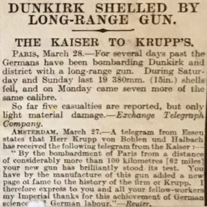 Dunkirk shelled by long-range gun