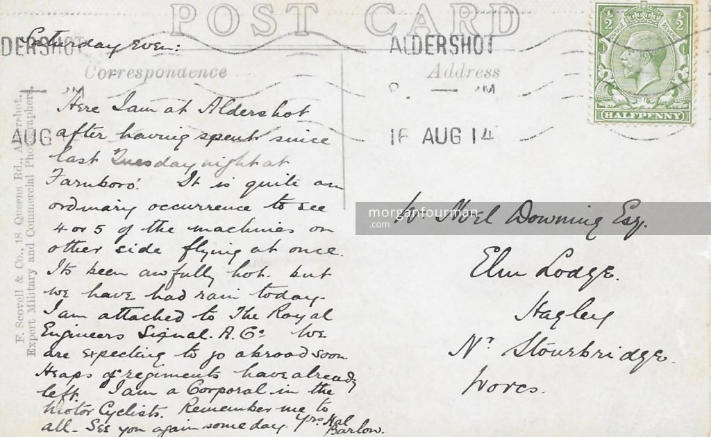 Hal Barlow to Noel Downing postcard, Aldershot, 16 Aug 1914