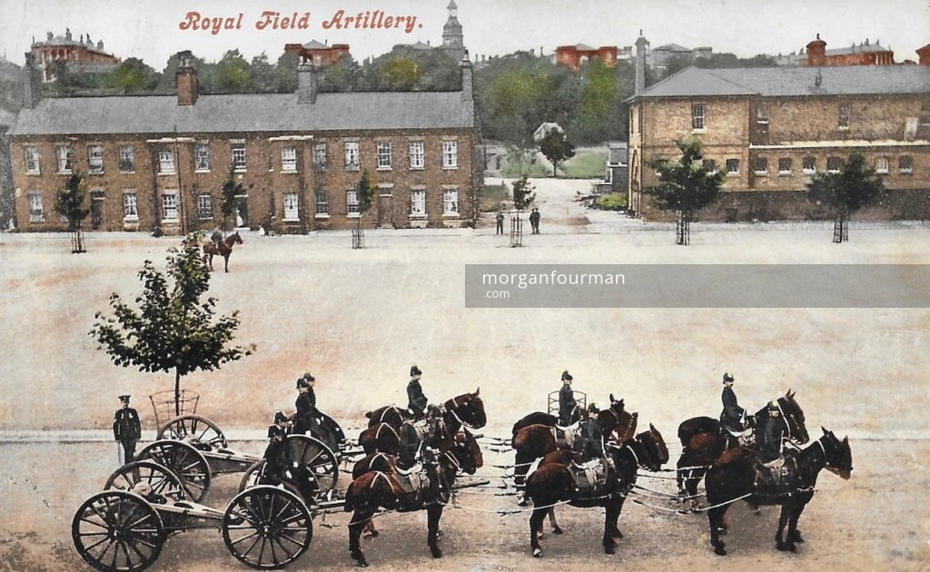 Royal Field Artillery. Hal Barlow to Noel Downing postcard, Aldershot, 22 Aug 1914