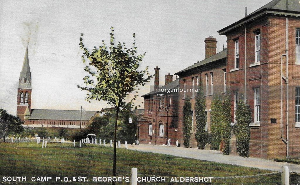 South Camp P.O. & St George's Church, Aldershot. Hal Barlow to Noel Downing postcard, Aldershot, 22 Aug 1914