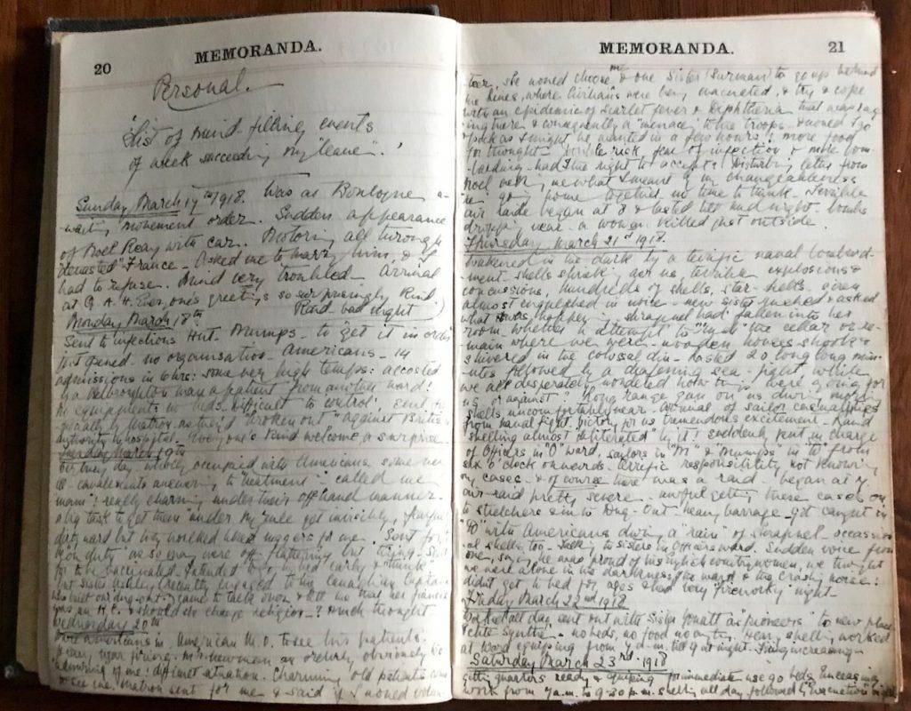 Molly Evans's Diary, 1918, pp. 20-21