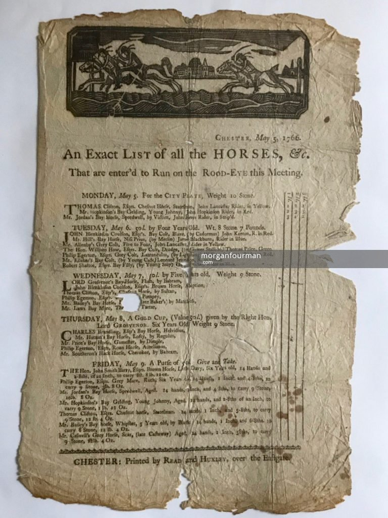 Racecard, Chester, 5-8 May 1766
