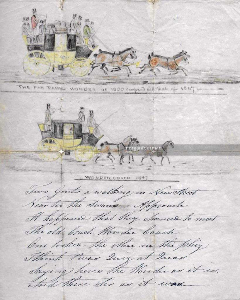 The far famed Wonder of 1830 compared with that of 1847, drawing and poem by Sarah Evans, 1847