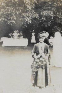 Florence Evans at her daughter's wedding, Jul 1919