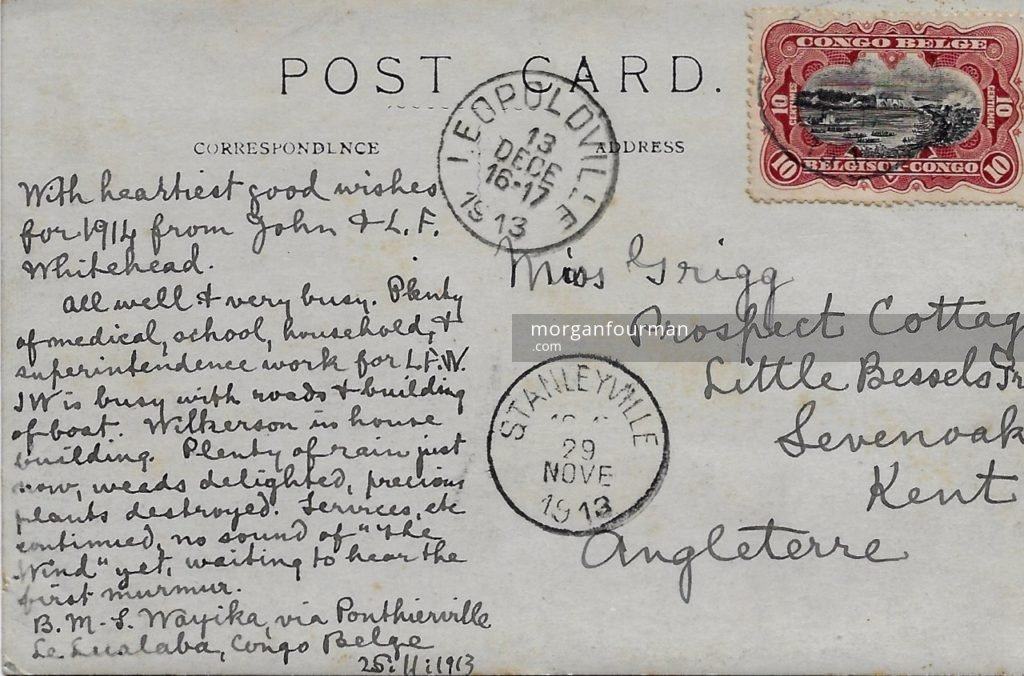 Postcard from Rev John Whitehead Nov 1913 Back