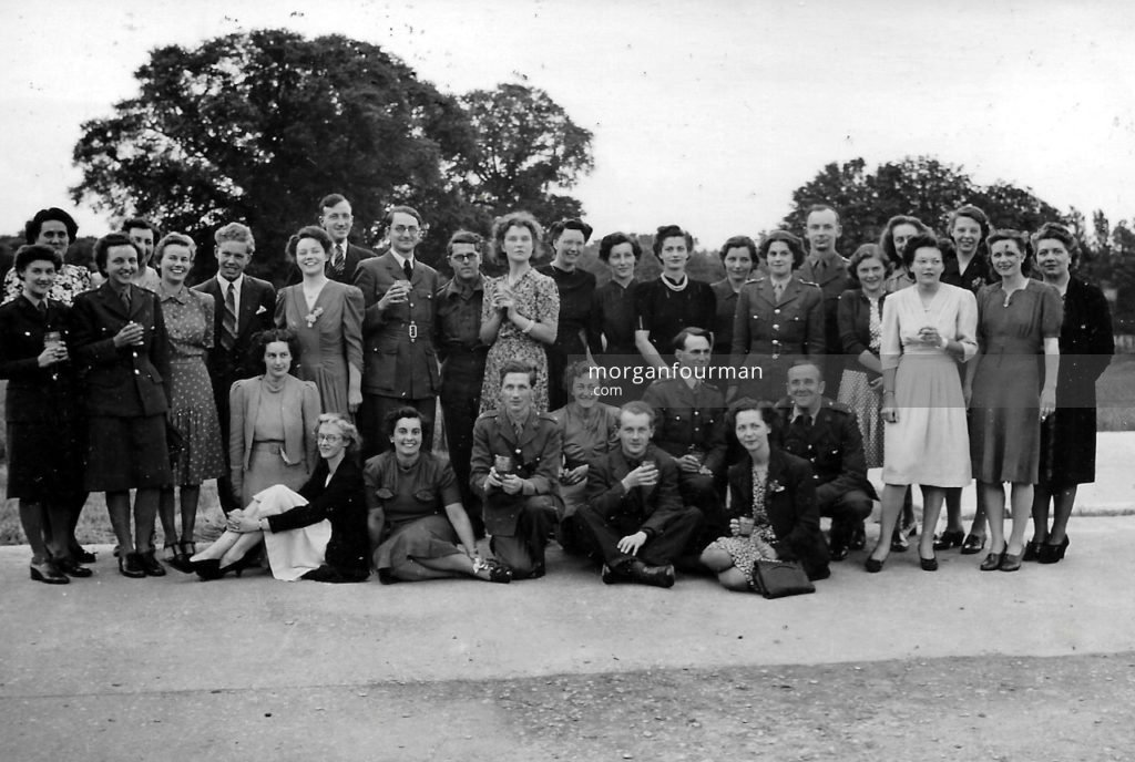 Photo 1. VE Day Celebration, Hut 6, Bletchley Park, 1945. Pamela Downing is fifth from the left