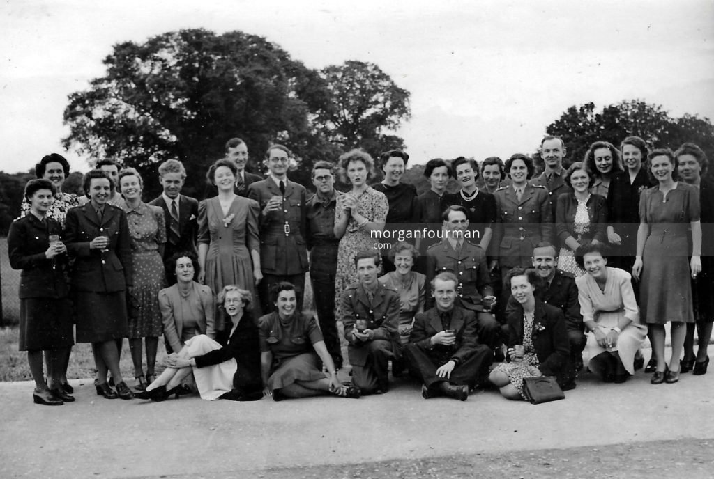 Photo 2. VE Day Celebration, Hut 6, Bletchley Park, 1945. Pamela Downing is fifth from the left