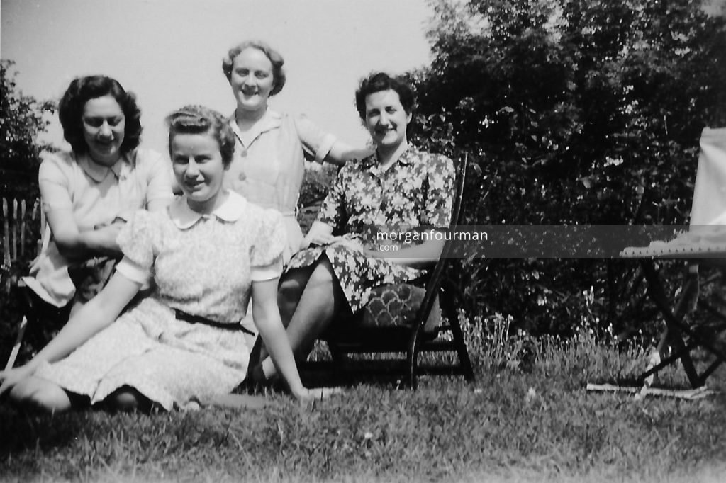 Garden in Woburn Sands billet, from l-r, Daisy Genge, Pamela Morgan, Margaret Bonsor and Jane Morris