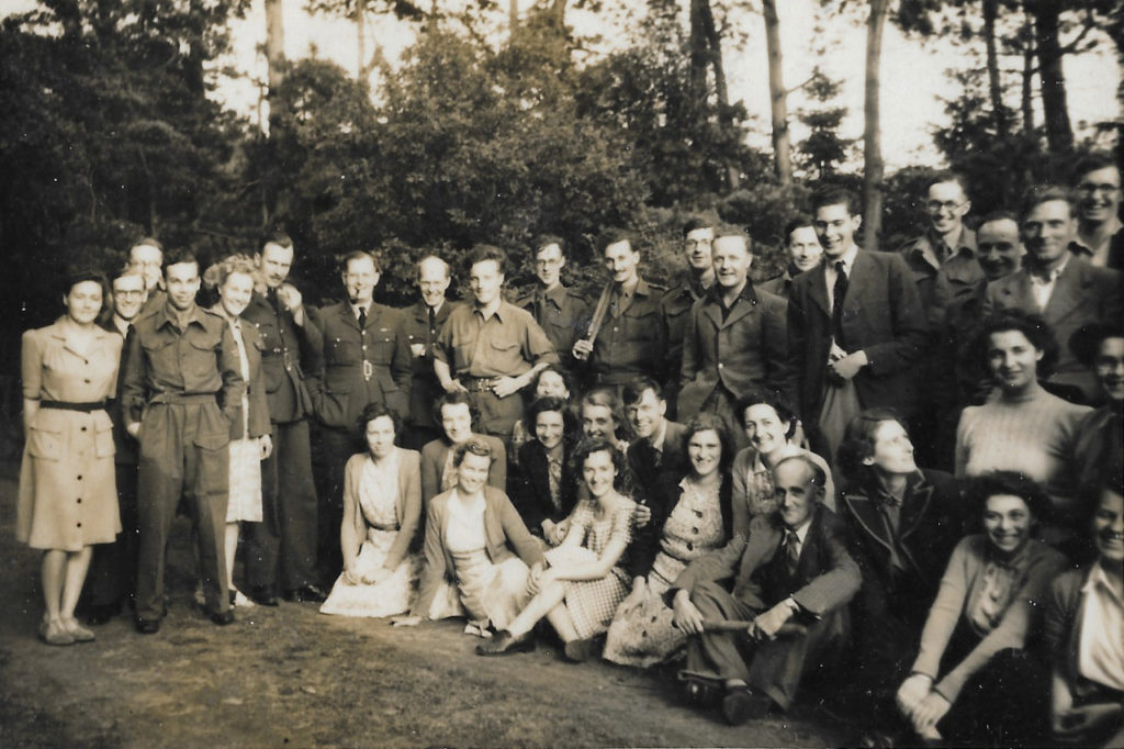 Hut 6 Picnic & Rounders in Brickhill Woods, Summer 1945. Pamela Downing is seated third from the left