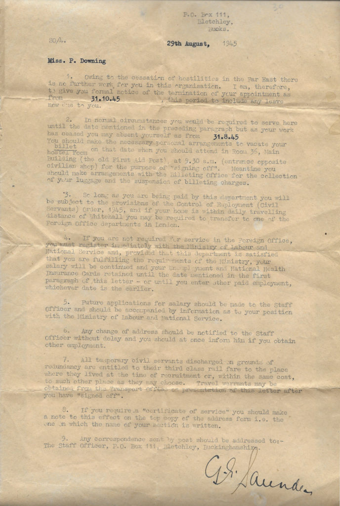 P. Downing's Termination of Service Letter, 29 Aug 1945
