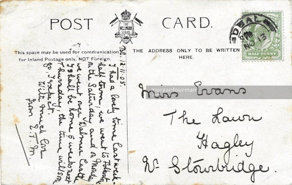 Edith Mathews to Molly Evans postcard, Beach Court, Walmer, 11 Nov 1905