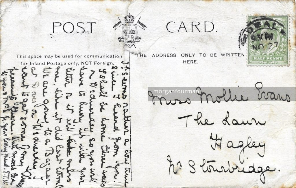 Edith Mathews to Molly Evans postcard, Beach Court, Walmer, 27 Nov 1905