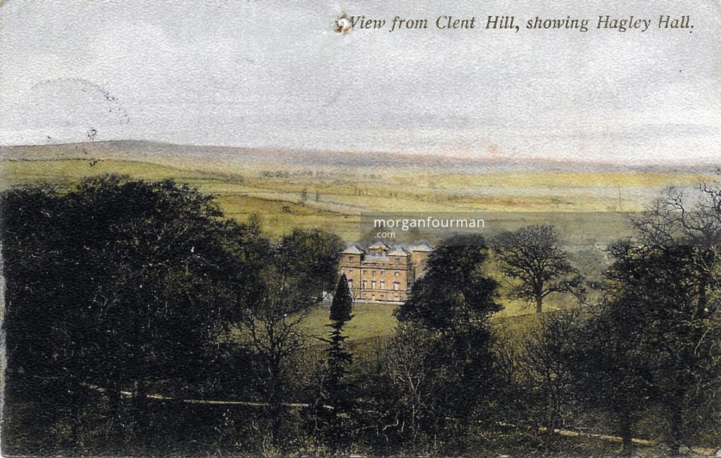 View from Clent Hill, showing Hagley Court. Mrs Evans to Molly postcard, Stourbridge, 7 Jun 1907