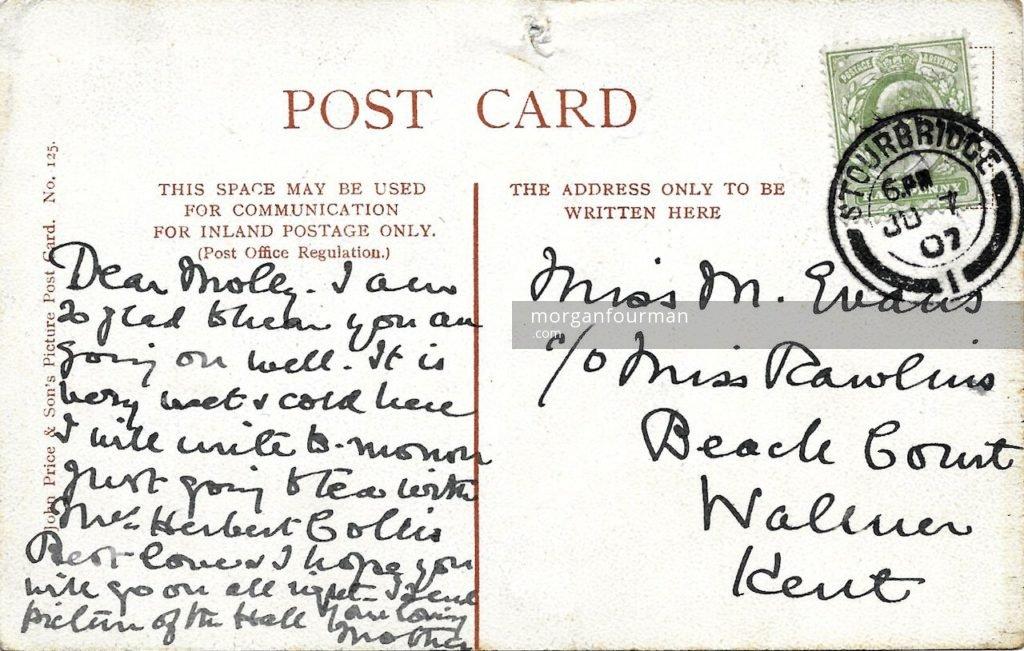 Mrs Evans to Molly postcard, Stourbridge, 7 Jun 1907