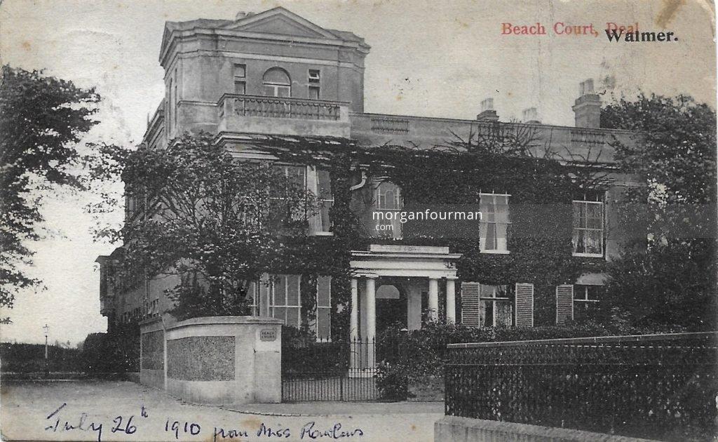 Beach Court, Walmer. Miss M.E. Rawlins to Molly Evans postcard, Deal, 26 Jul 1910