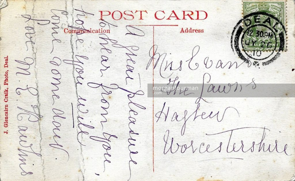 Miss M.E. Rawlins to Molly Evans postcard, Deal, 26 Jul 1910