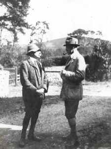 Outside Manor House, Ratlinghope, c. 1916; Thomas Lee Downing (l)