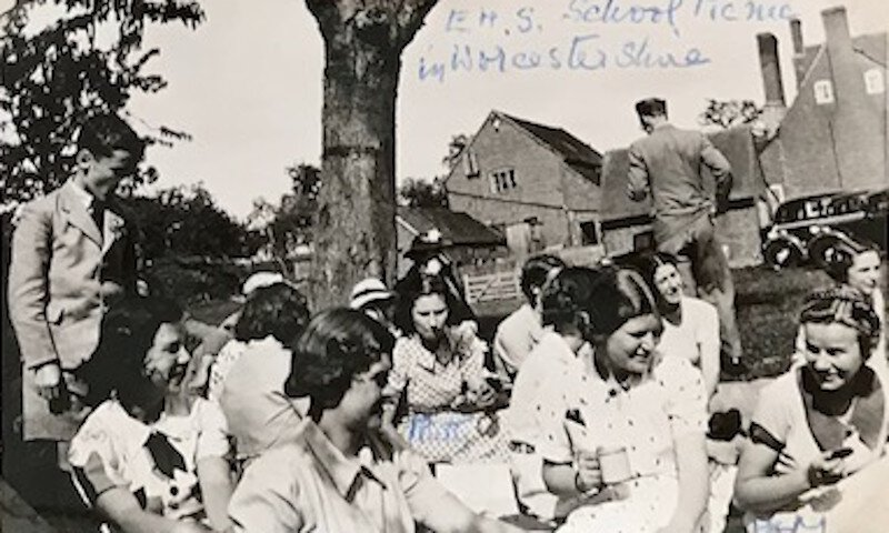 Edgbaston High School picnic in Worcestershire, 1938. Ruth and Pam are marked