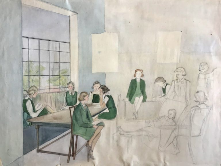 Friends at Edgbaston High School, sketch by Pamela Downing, 1938