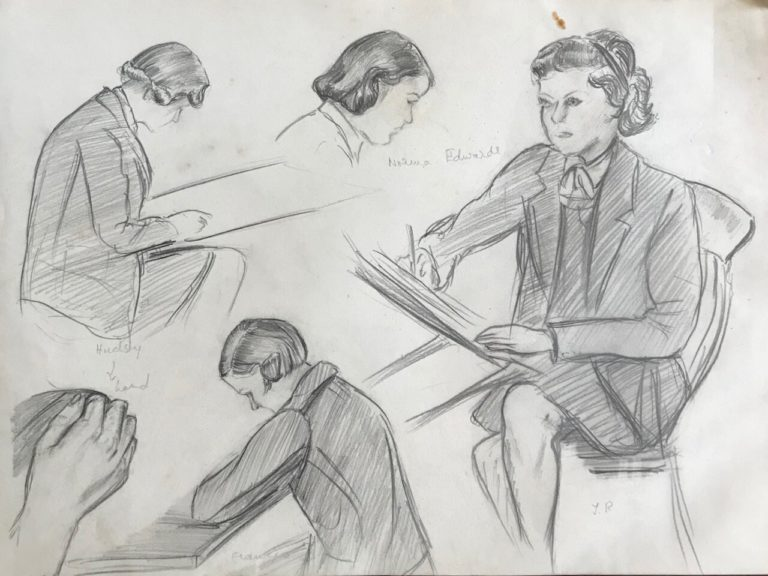 Friends at Edgbaston High School, sketch by Pamela Downing, 1938. Hadsly, Frances, Norma Edwards and J.R.