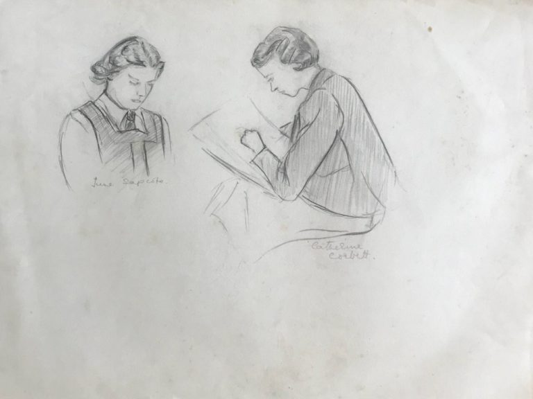 Friends at Edgbaston High School, sketch by Pamela Downing, 1938. June Sapcote and Catherine Corbett
