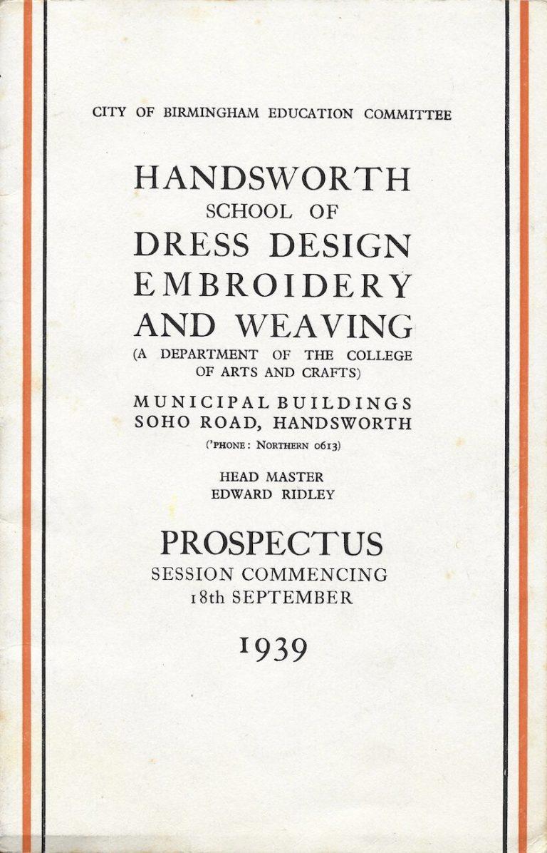 Handsworth School of Dress Design Prospectus 1939