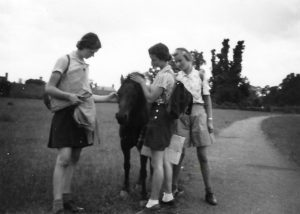 Sketching, Stratford-upon-Avon, 1939. Pam on the right