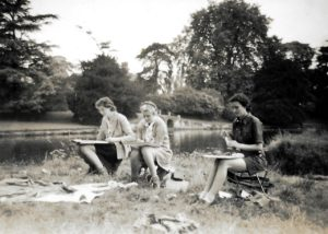 Sketching, Stratford-upon-Avon, 1939. Pam in the middle