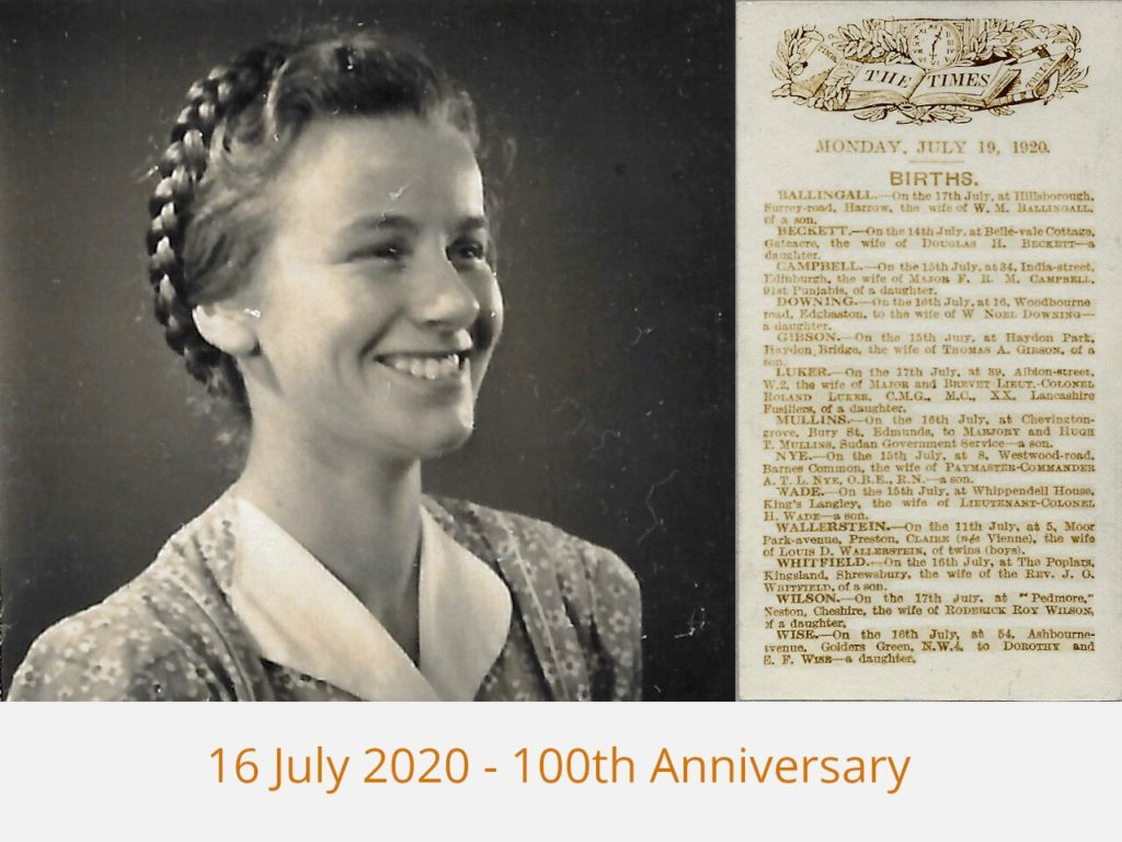 16 Jul 2020 - 100th Anniversary