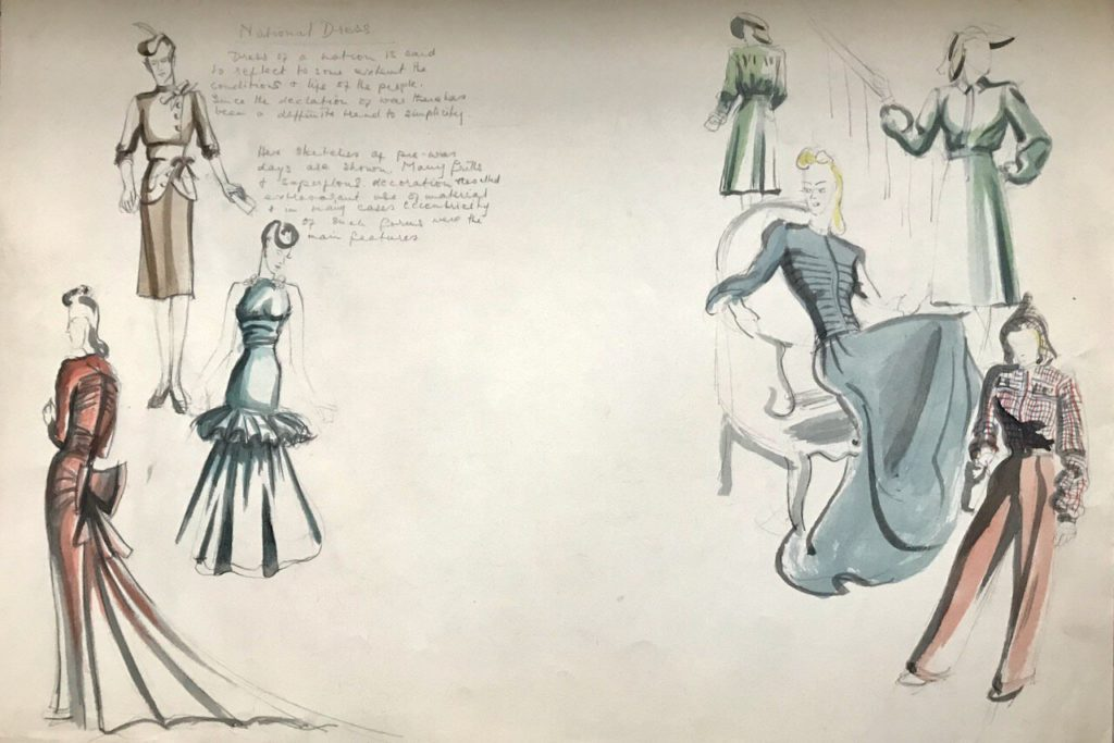 Pam's 1941 'National Dress' sketch shows eccentricity of pre-war fashion replaced by simplicity since the declaration of war