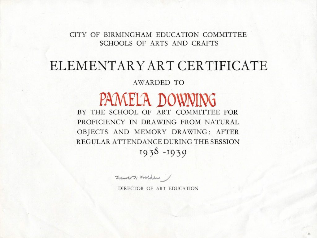 City of Birmingham Schools of Arts and Crafts Elementary Art Certificate awarded to Pamela Downing, 1938 - 1939