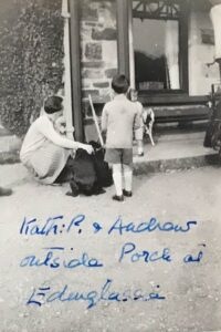 Kathleen and Andrew Pinsent outside Porch at Edinglassie, Sep 1927