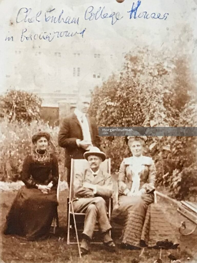 Mrs Lewis, E. Marten and Mrs Evans, two sisters and brother, in garden at Lamberhurst