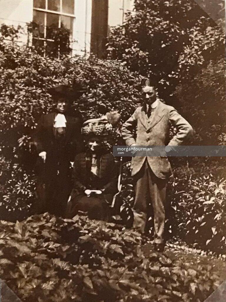 Mrs Lewis and Mrs Evans in garden of Lamberhurst