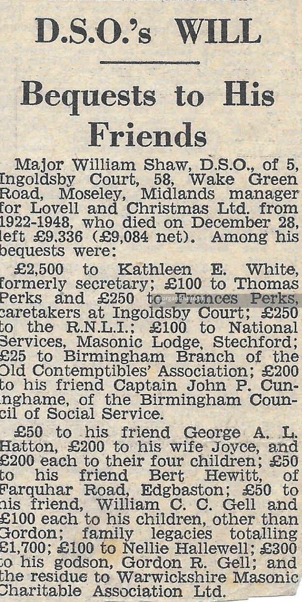 Major Shaw's Will: Bequests to His Friends