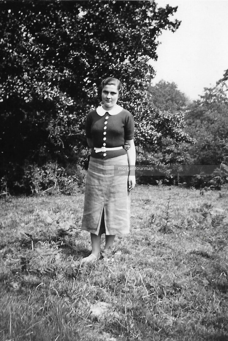 Colette Rastit at a fishing party near Presteigne on River Lugg, 23 Jul 1938