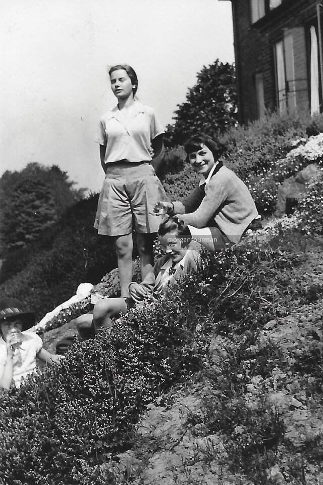 Jill, Pam, Hazel and Hélène Cordier at the Cadbury's House, W Malvern, 1936