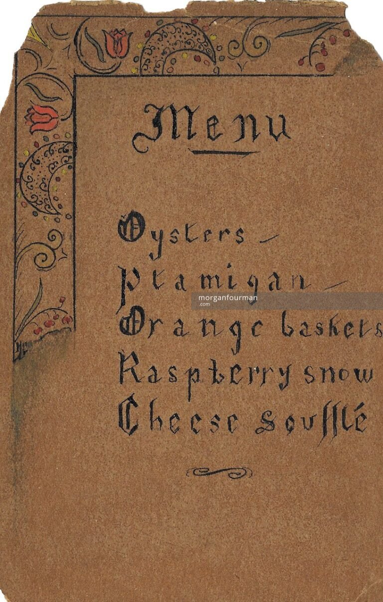 Menu Card by Hélène Cordier, 3 Apr 1937. Major Shaw is among guests listed on the back