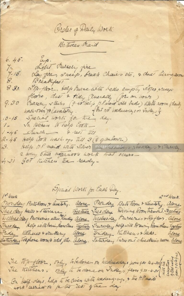 Order of Daily Work: Between Maid. Molly Downing, c. 1920