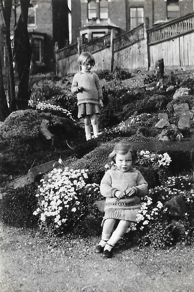 Pamela and Hazel Downing in the gardens at 16 Woodbourne Rd, Apr 1925