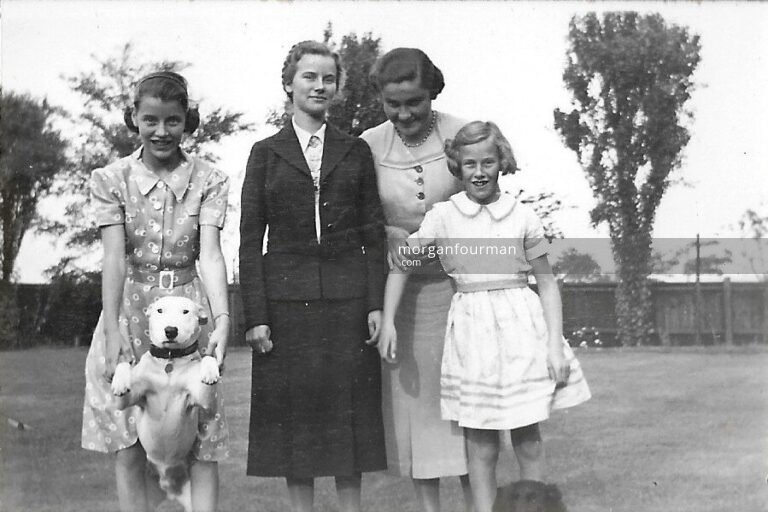 The last day before Pam leaves to France (l-r): Hazel, Pam, Colette, Jill, Edgbaston, 31 Aug 1938